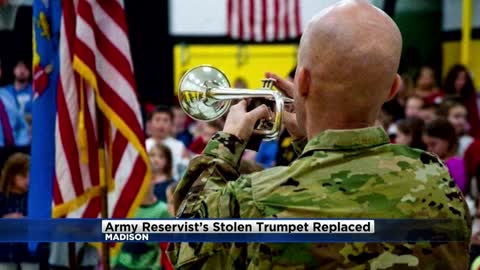 Army Reservist whose beloved trumpet was stolen receives new one from Wisconsin business owner