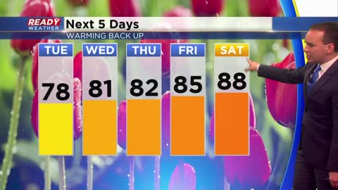 Trending warmer to end July with another run at 90°