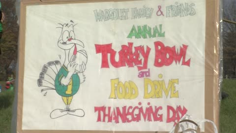 "Friends and families get together to help hungry and play football during annual ""Turkey Bowl"""