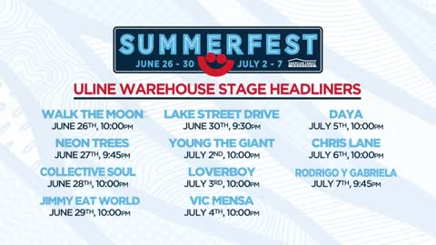 Headliners announced for Summerfest's Uline Warehouse Stage