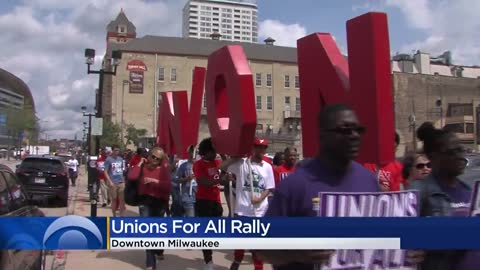 Workers hold labor law, unions rally in downtown Milwaukee