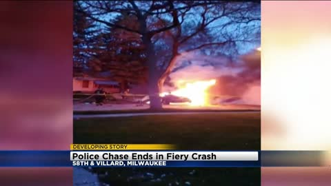 Police pursuit ends when suspect is ejected after hitting tree near 58th and Villard