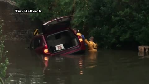Heavy rainfall causes flash flooding in Watertown, drivers rescued