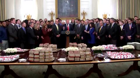 Local college football player enjoys fast food at the White House