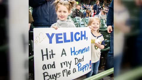 Family getting a puppy after Yelich hits home run