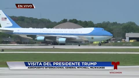 Presidente Donald Trump llega a Milwaukee