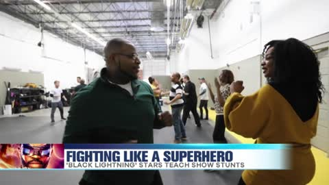 The Cast of 'Black Lightning' Teaches Show Stunts