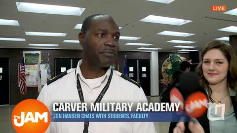 Jon Chats with Students and Staff at Carver Military Academy