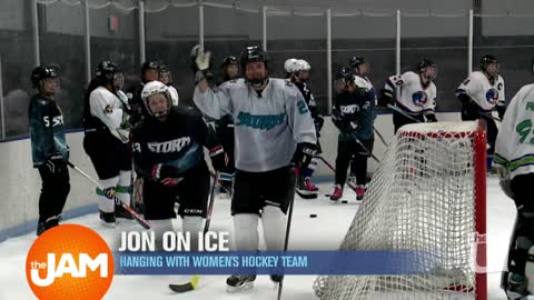 Jon on the Ice with Chicago Women Hockey Teams